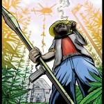 Hamppu farmari sinko kädessä polttelee pilveä pellolla