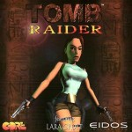 Tomb Raider 1 Playstation CD kansi Lara Croft pistoolit kädessä