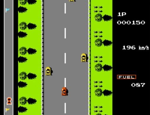 Road Fighter NES Moottoritie